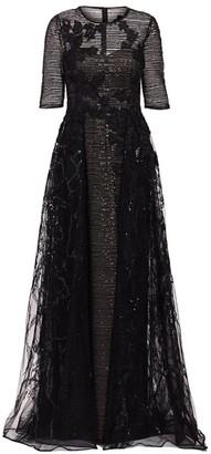 Teri Jon By Rickie Freeman Sequin Overlay Gown