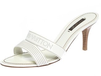 Louis Vuitton White Patent Leather Perforated Logo Detail Open Toe Slides Size 37.5