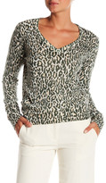 Equipment Cecile V-Neck Leopard Print Cashmere Sweater