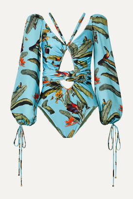 PatBO Cutout Printed Chiffon-trimmed Swimsuit - Turquoise