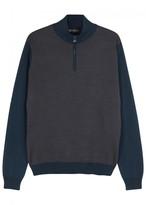 Corneliani Two-tone Fine-knit Wool Jumper