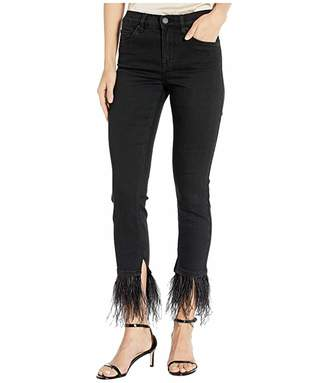Blank NYC Black Skinny with Detachable Feather Hem in Night Mania