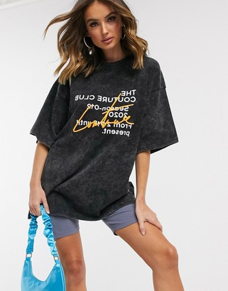 The Couture Club oversized contrast motif t-shirt in acid gray