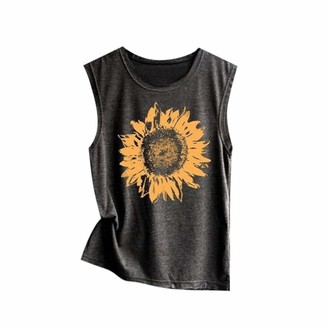 Mingfa.Y Women Tank Tops Clearance Sale Women Teen Girls Summer Sleeveless T Shirt Blouse Tops Mingfa Fashion Sunflower Print Casual Loose Tank Top Vest(Dark Gray M)