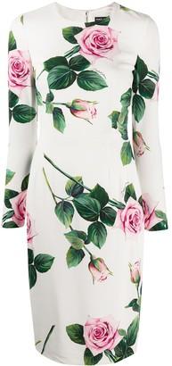 Dolce & Gabbana Cady tropical rose print dress