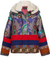 Etro Oversized Shearling-trimmed Jacquard And Wool-felt Jacket