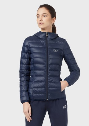 Ea7 Hooded Puffer Jacket With Full-Length Zip
