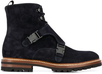 Kiton Front Buckle Ankle Boots