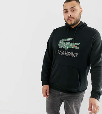 Lacoste large croc logo hooded sweat in black