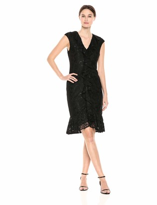 Maggy London Women's Lace Cocktail Sheath with Center Front Cascade Ruffle