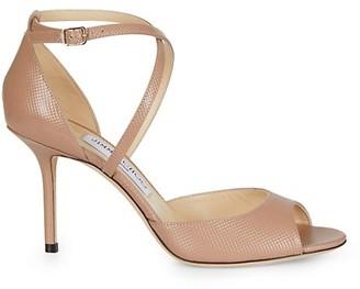 Jimmy Choo Emsy Peep-Toe Embossed Leather Sandals