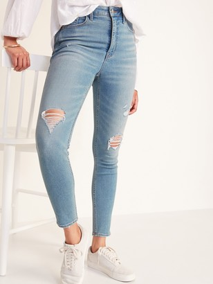 Old Navy Extra High-Waisted Rockstar 360 Stretch Super Skinny Ripped Jeans for Women