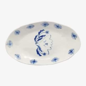 Marie Yaé Suemastu Marie Yae Suemastu - Blue and White Bird and Star Porcelain Oval Plate - porcelain | white and blue