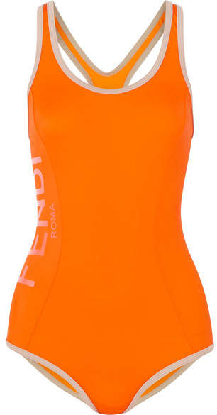 Fendi Roma Cutout Swimsuit - Orange