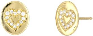 Bony Levy 18K Yellow Gold Pave Diamond Heart Stud Earrings