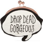 Sophia Webster Drop Dead Gorgeous Beaded Cotton Clutch - White
