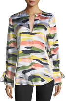 Equipment Camo-Print Tie-Sleeve Silk Satin Tunic