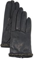 Portolano Napa Leather Silk-Lined Gloves w/ Beaded Cuffs