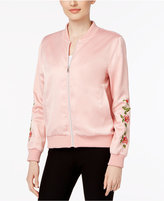 Joseph A Embroidered Satin Bomber Jacket