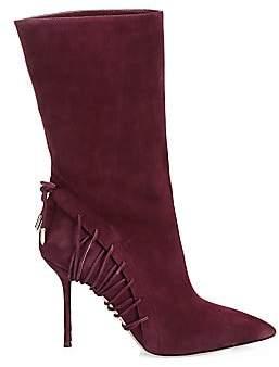 Aquazzura Women's All Mine Lace-Up Suede Boots