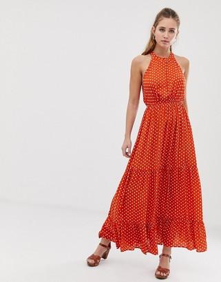 Brave Soul skye maxi dress in spot print