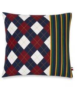 "Tommy Hilfiger Argyle Stripe Cotton Geometric 18"" Throw Pillow"