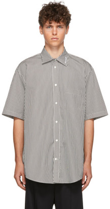 Balenciaga Black and Off-White Stripe Short Sleeve Shirt