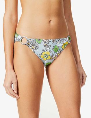 Tory Burch Floral-print ring-detail mid-rise bikini bottoms