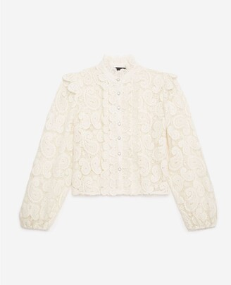 The Kooples Ecru lace shirt with high neck
