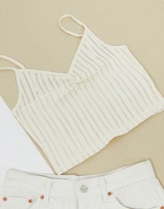 Pieces sheer cami crop top in white stripe