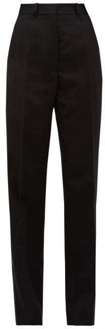 Hillier Bartley Barathea Wool Blend Tuxedo Trousers - Womens - Black