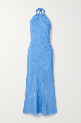 The Line By K Belle Satin-jacquard Halterneck Maxi Dress - Blue