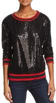 Honey Punch Sequined Striped-Trim Top
