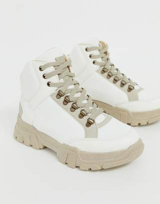 Asos Design DESIGN Darkness chunky hiker sneaker boots in off white