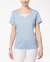 Karen Scott Cotton Lace-Up Layered-Look Top, Created for Macy's