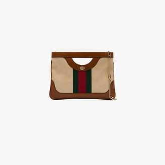 Gucci Brown Large Vintage Canvas Shoulder Bag