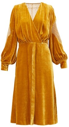 ZEUS + DIONE Rania Crocheted-lace Velvet Dress - Gold
