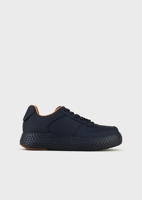 Emporio Armani Leather Sneakers With Ribbed High Sole