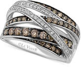 LeVian Le Vian White (1/6 ct. t.w.) and Chocolate (3/4 ct. t.w.) Diamond Crossover Ring in 14k White Gold