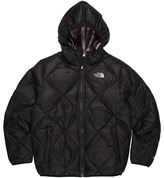 The North Face Kids - Girls' Reversible Down Moondoggy Plaid Jacket (Little Kids/Big Kids) (TNF Black/TNF Black Plaid) - Apparel
