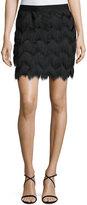 Max Studio Zigzag Fringe Skirt, Black