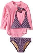 Toobydoo Navy Pink Pattern Bikini Pink Rashguard Set Girl's Swimwear Sets