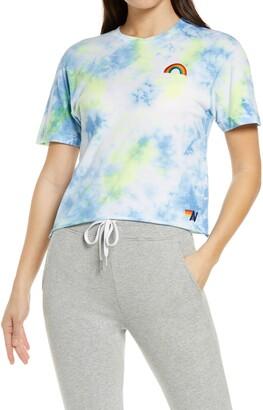 Aviator Nation Rainbow Tie Dye Boyfriend Women's T-Shirt
