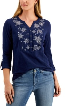 Style&Co. Style & Co Embroidered Roll-Tab Sleeve Henley Top, Created for Macy's