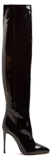 Aquazzura Alma 105 Patent Leather Over The Knee Boots - Womens - Black