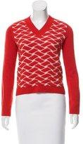 Jil Sander Navy Wool Patterned Sweater