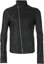 Rick Owens asymmetric zip biker jacket - men - Cotton/Calf Leather/Cupro - 50