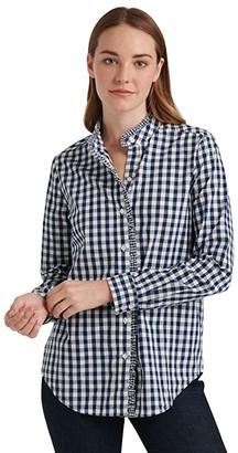 Lucky Brand Long Sleeve Button-Up Classic Ruffle Shirt (Navy Multi) Women's Clothing