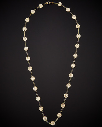 Italian Gold 14K Hammered Disc Station Necklace