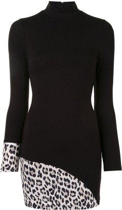 Alice + Olivia Leopard Print Panelled Bodycon Dress